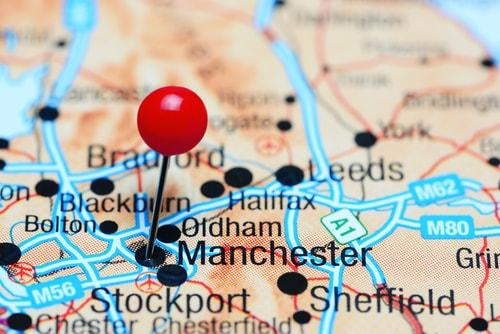 Manchester on a map