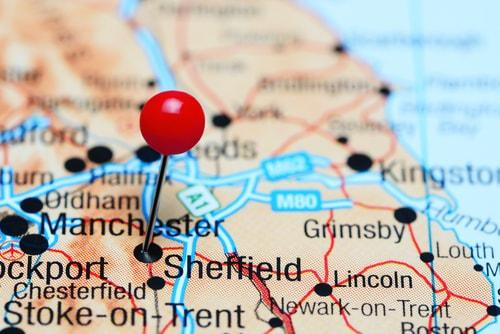 Sheffield on a map